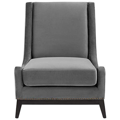 Modway Confident Lounge Chair Upholstered Performance Velvet Set of 2, Gray