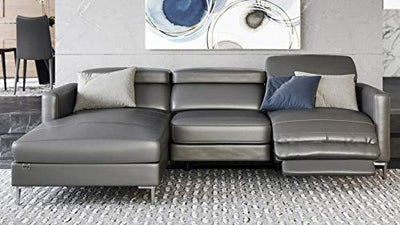 Zuri Furniture Modern Grey Leather Reno Sectional with Armchair and Power Recliner Seat - Left Chaise