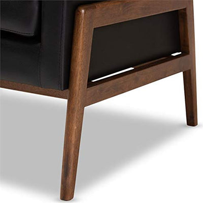 Baxton Studio Perris Faux Leather Lounge Chair in Black and Walnut