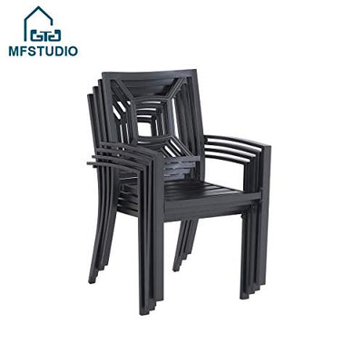 MFSTUDIO 6 Piece Black Metal Outdoor Patio Dining Set with 4 Stackable Chairs,1x 37 Metal Mesh Table and 1 x 10ft 3 Tiers Outdoor Umbrella