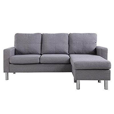 Casa Andrea Milano LLC Modern Sectional Sofa - Small Space Reversible Configurable Couch, Light Grey Fabric