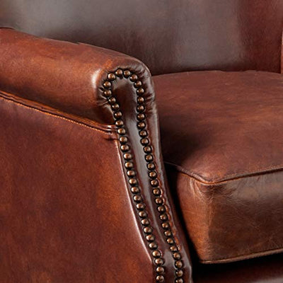 ACME Leeds Accent Chair, Vintage Dark Brown Top Grain Leather