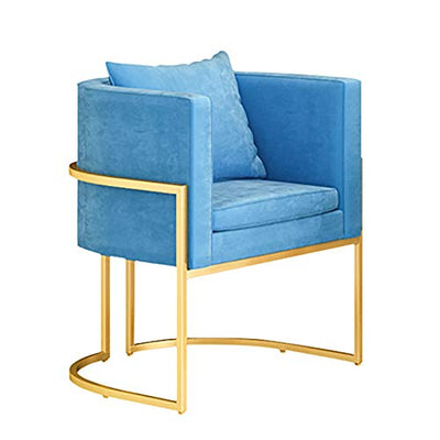 YB&GQ Mid Century Modern Accent Chair,Living Room Leisure Guest Chair,Velvet Upholstered Arm Chair,backrest Side Chair,Bedroom Vanity Chair Blue 75x65x65cm(30x26x26inch)