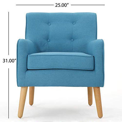Christopher Knight Home Felicity Mid-Century Fabric Arm Chairs, 2-Pcs Set, Teal