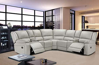 Anshunyin Symmertrical Reclining Sectional Sofa Sectional Sofa Power Motion Sofa Living Room Sofa Corner Sectional Sofa with Cup Holder, Grey Leather