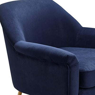 Elle Decor Ophelia Lounge, Mid-Century Modern Accent Chair with Brass Metal Legs, Fabric Upholstered Armchair for Living Room, Easy Assembly, Navy Blue