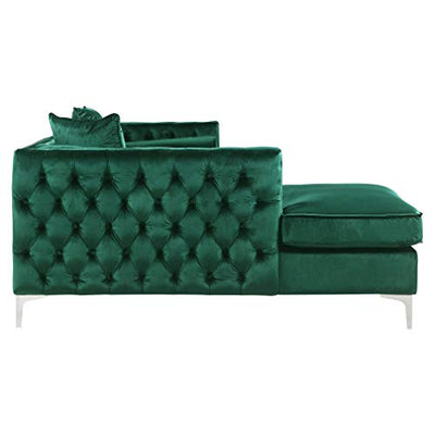 Chic Home Monet Velvet Modern Contemporary Button Tufted with Silver Nailhead Trim Left Facing Sectional Sofa Green