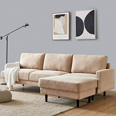 Sectional Couch Sofa with Ottoman Modern Fabric Comfy Chair L Shaped Sofas for Living Room Convertible Chaise Lounge Indoor (Beige)