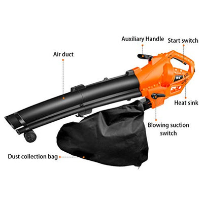 ZWYSL Garden Leaf Blower, 3-in1 High-Power Vacuum and Shredder Electric Suction Dust Removal and Sweeping Cleaner (Color : 3000W 5-Speed, Size : 0.35M)