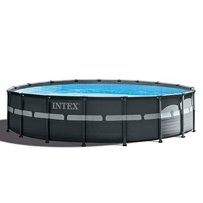 Intex 18Ft x 52In Ultra XTR Steel Frame Round Above Ground Outdoor Swimming Pool Set with Pump and Ladder