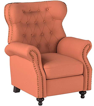 Waldo Tufted Wingback Recliner Chair(Orange)