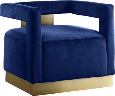 "Meridian Furniture Armani Collection Modern | Contemporary Velvet Upholstered Accent Chair with Sturdy Steel Base and Back in Gold Finish, 31.5"" W x 28"" D x 28"" H, Navy"