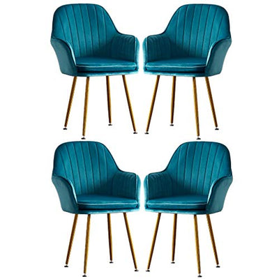 Zyy Modern Flannel Dining Chairs Luxury Single Sofa Chair Girl Makeup-Dressing-Chair Lounge Leisure Nail-Stool Creative Fashion Armchairs Set of 4 Coffee Shop (Color : Blue)