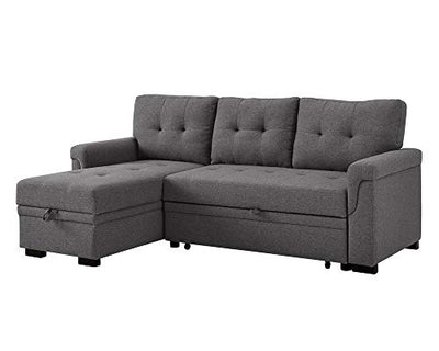 Lilola Home Lucca Linen Reversible Sleeper Sectional Sofa Steel Gray