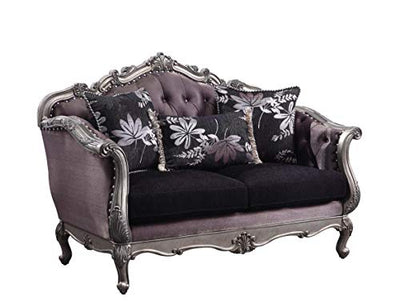 ACME Chantelle Loveseat w/3 Pillows - - Silver Gray Silk-Like Fabric & Antique Platinum