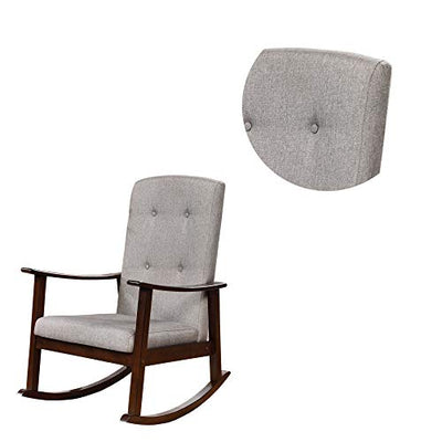 Benjara, Brown and Gray Wooden Rocking Chair with Fabric Upholstered Seat and Tufted Back