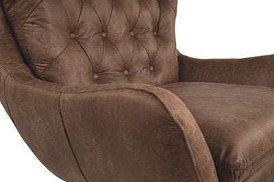Signature Design by Ashley - Velburg 360-Degree Swivel Accent Chair - Contemporary - Distressed Brown Fabric