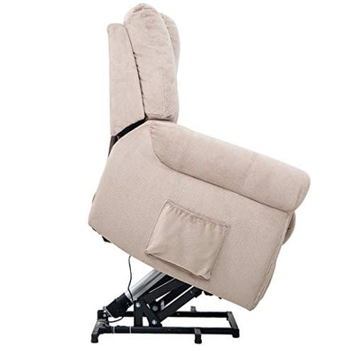 Merax Electric Power Lift Recliner Chair Lazy Boy Sofa for Elderly, Heat, Office or Living Room, Light Brown(Massage)