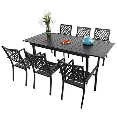 PHI VILLA 7 Piece Patio Dining Set,6 PCS Bistro Chairs and 1 Extendable Dining Table Outdoor Furniture Sets