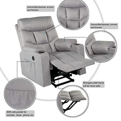 YODOLLA Electric Powr Recliner Chair, Grey Recliner Sofa with Massage & Heat Function, Reclining Chair with Side Pockets and Cup Holder, USB