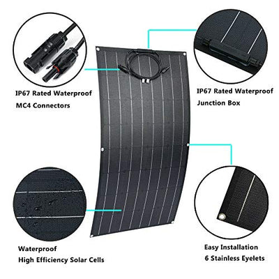 Giosolar 600W 12V 24V Portable Flexible Solar Panel Kit for Caravan, Bump Surface PV Panel with 60A LCD Charge Controller + Accessory