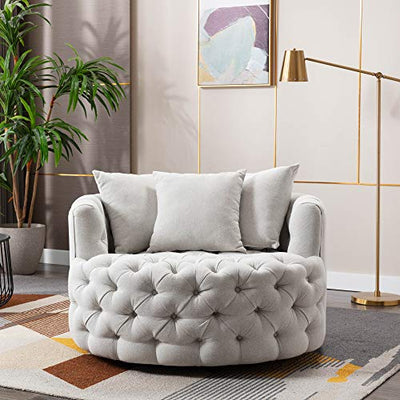 Dolonm Swivel Accent Barrel Chair Modern Sofa Lounge Club Round Chair Linen Fabric for Living Room Hotel with 3 Pillows (Beige)