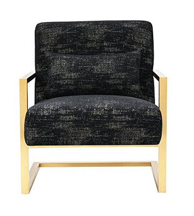 Iconic Home Louvre Accent Club Chair Two Textured Fabric Couch Sculptural C-Shaped Gold Tone Solid Metal Frame Modern Contemporary, Black