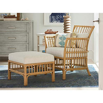 Coastal Living Escape Clearwater Lounge Chair and Ottoman Combo in Woven Rattan Frame and Dover Natural Beige Upholstered Cushions