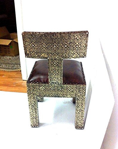 Moroccan Metal and Leather Chair (Set of 2)
