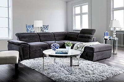 HOMES: Inside + Out Mackey Sectional Recliner, Dark Grey