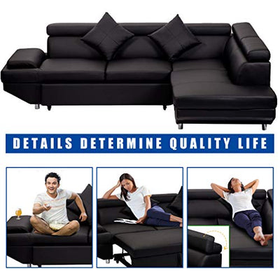 FDW Sofa Sectional Sofa Bed futon Sofa Bed Sofa for Living Room Couches and Sofas Sleeper Sofa PU Leather Sofa Set Corner Modern Queen 2 Piece Contemporary Upholstered,Black