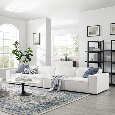 Modway EEI-4114-WHI Restore 4-Piece Upholstered Sectional Sofa in White