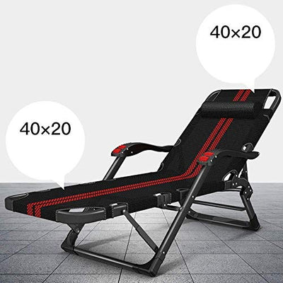 JIUYUE Household Folding Chair Leisure Chair Portable Deck Chair Office Lunch Break Nap Bed Outdoor Garden Lounge Chair Sunbed Maximum Load 200kg Long178cm Black GW (Color : Red Stripe) Deck Chair