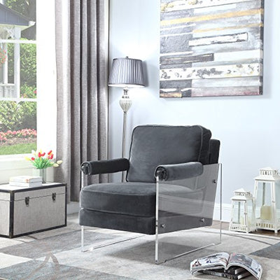 Iconic Home Logan Modern Contemporary Acrylic Frame Upholstered Arm Velvet Accent Chair, Grey