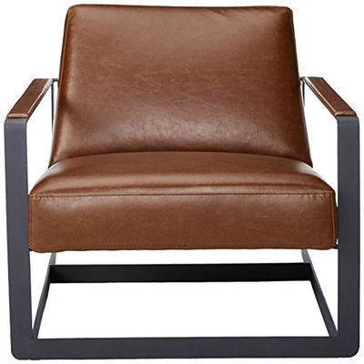 Modway Seg Faux Leather Guest Reception Modern Accent Lounge Arm Chair In Brown
