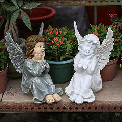 Angel Sculpture, in God's Grace Guardian Angel Statue Polyresin Figurines for Outdoor Garden Decoration, Antique White Stone 25x25x43cm (10x10x17 inch)