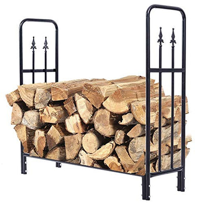 HEMFV Fireplace Log Carriers & Holders, Outdoor Heavy Duty Steel Firewood Log Rack Wood Storage Holder, Black Home Décor Products