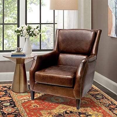 Pasargad Home Vicenza Collection Wing Chair, Brown