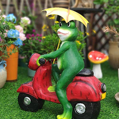 Stock Solar Frog Statue, Wood Frog Riding a Motorcycle Sculpture, Whimsical Hand Painted Resin Garden Statue, Cute Animal Decoration for Garden, Yard, Patio Frog 44x24x50cm (17x9x20inch)