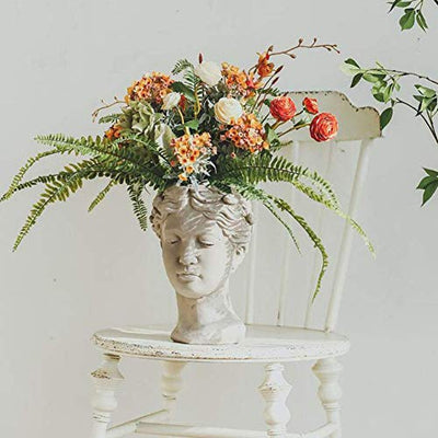 Greek Sculpture, Resin Succulent Planter Female Head Statue Concrete for Home Garden Decor-White 15x24cm (6x9inch)
