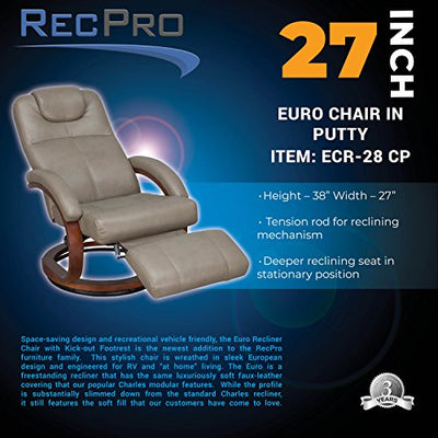 "RecPro Charles 28"" RV Euro Chair Recliner Modern Design RV Furniture (2, Putty)"