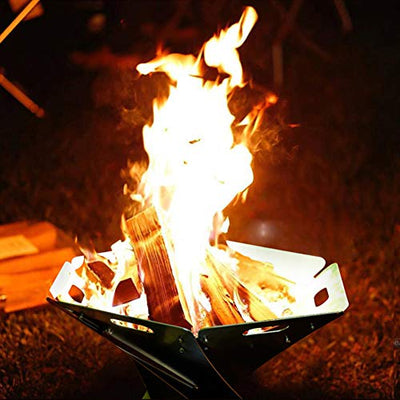 CATLXC Portable Folding Irregular Modern Fire Pit Durable Stainless Steel Brazier Wood Burning Fire Pit Bonfire Stove Perfect for Camping and Backyard Party Includes Storage Bag