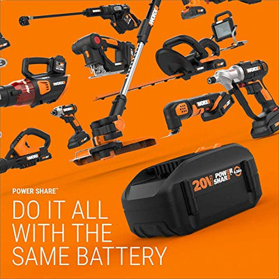 "Worx WG930.3 20V PowerShare 10"" Cordless String Trimmer & Turbine Blower Combo Kit, (2) 4.0Ah Batteries and Dual Charger (Renewed)"