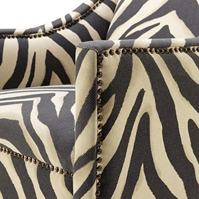 Zebra Print Upholstered Living Room Arm Chair | Eichholtz Jenner | Black | White | Modern Luxury Accent Chair Furniture