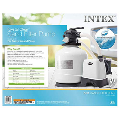 Intex 26651EG 16-Inch 3000 GPH Above Ground Pool Sand Filter Pump with Automatic Timer and 6-Function Control