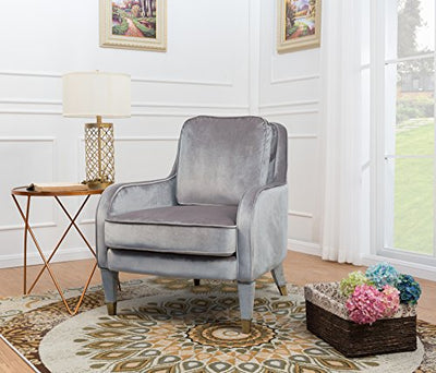 Iconic Home Tzivia Accent Club Chair Sleek Elegant Velvet Upholstered Plush Cushion Seat Metal Trim, Modern Transitional, Grey