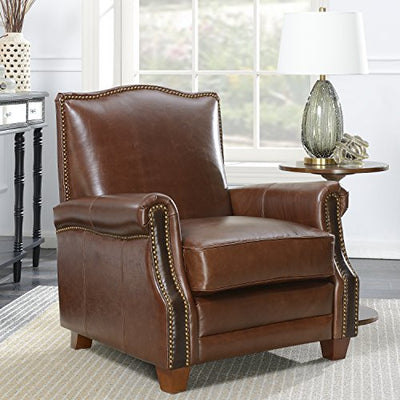 Christies Home Living Armchair Leather Accent, Brown