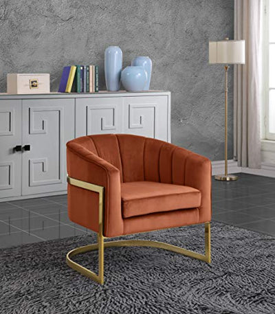 "Meridian Furniture Carter Collection Modern | Contemporary Upholstered Velvet Barrel Accent Chair with Gold Stainless Base, Grey, 29"" W x 27.5"" D x 31"" H"