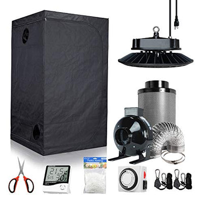 BestMart Growing Tent Kit 48''x48''x80'' Hydroponic Grow Tent Kit+Full Spectrum New Tech UFO Grow Light 900W+6'' Ventilation Kit for Indoor Growing