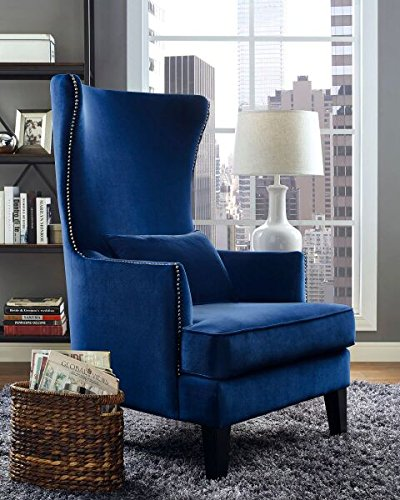 Tov Furniture The Bristol Collection Contemporary Velvet Upholstered Tall Living Room Parlor Chair with Nailhead Trim, Navy
